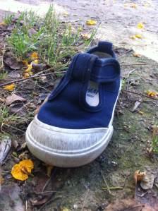 30 de Junio-Benidorm Una zapatilla de bebe estaba en un parque.