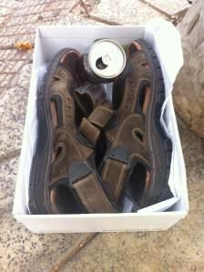 25 de Junio-Benidorm Unas chanclas de caballero usadas dentro de una caja de zapatos, con una lata de refresco, al lado de un árbol.